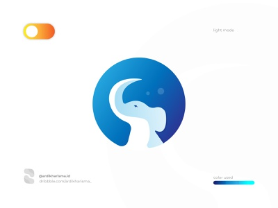 ELEPHANT   MODE LIGHT ardikharisma gradient animal illustration logos brand art 2020 design logo design graphic branding elephant logo elephant light