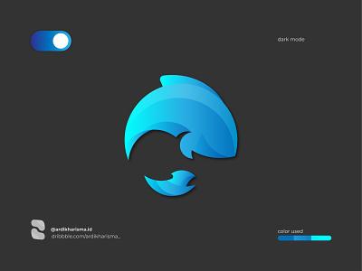 WHALE AND BIRD DARK VERSION agustus business animal bird dark whale gradient graphicdesign brand art 2020 design logo design graphic logo branding