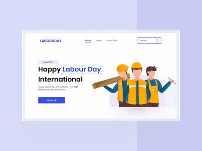 Landing Page UI Design   Labour Day art illustration art illustrator illusration may 2021 uiux design landingpage hari buruh buruh labour day labour uiuxdesign uiux