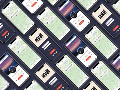 Roam mobile app exeperience product designs graphicdesign creative product design app uiux ui design