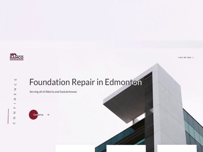 Website for Ramco foundation repair company studio interaction design interface design ux ui motion animation
