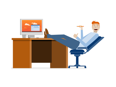 Happy IT Guy microsoft office chair desk computer illustration character red head windows tech it