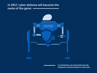 Cyber Security Predictions sci fi tech futuristic flat illustration blue negative space shield robot defense security cyber