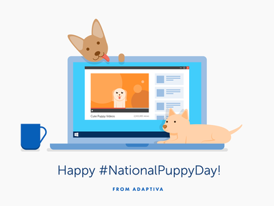 National Puppy Day flat illustration cute type social media dog coffee laptop national puppy day puppies puppy