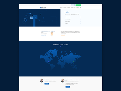 Contact Us Page adaptiva flat gradient blue illustration grid interactive map ux ui web contact