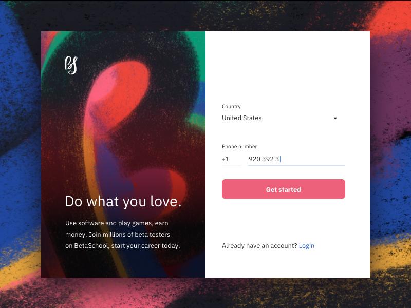 Sign up form registration phone sign up form beta sketch design web ui
