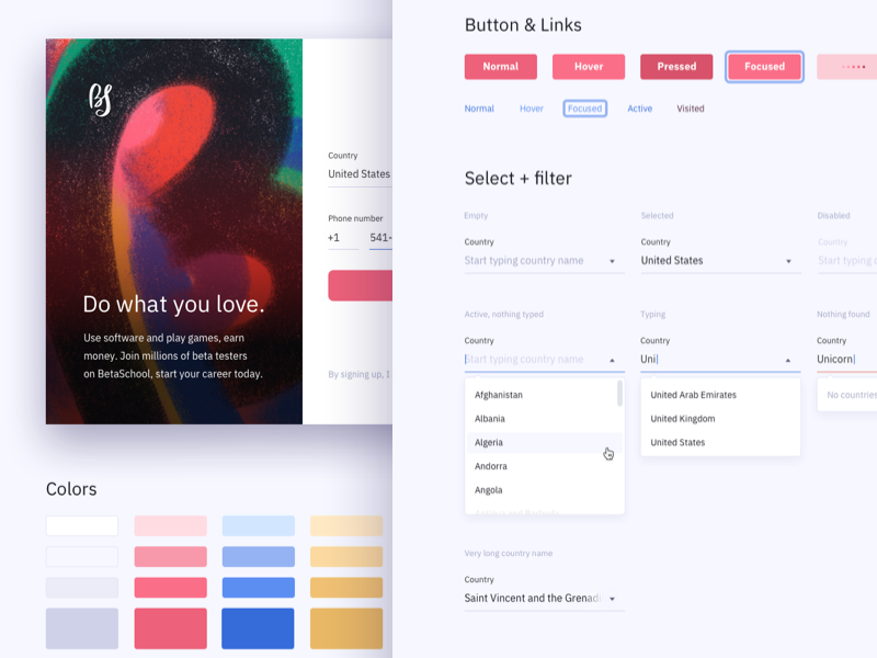 States and elements for sign up form sign up interface button ui kit front end ui design web sketch