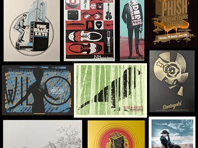 Variety of poster art poster poster art music art asheville illustration typography design