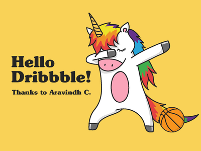 Hello Dribbble Dabbing Unicorn