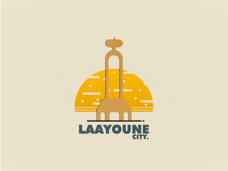 LAAYOUNE CITY sahasadventure laayoune city maroc sahara color simplicity laayoune sun simple poster design poster flat morocco vector illustration art minimal design