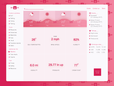 BaliLife temperature gui design weather user bali dashboard web ui interface