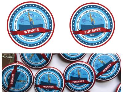 Pin Winner and Finisher pin design coach swimer water 2018 san francisco swim alcatraz finisher winner pin