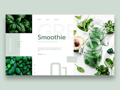 Smoothie Concept smoothie green health minimalist concept web design web ui design