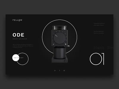 Fellow Ode Concept coffee grinder fellow minimalist concept web design web ui design