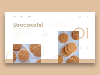 Stroopwafel Concept dessert sweet stroopwafel minimalist concept web design ui web design
