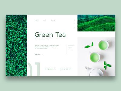 Green Tea Concept tea green health minimalist concept web design web ui design