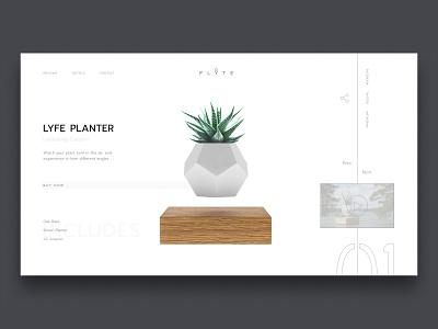 Lyfe Planter Concept flyte plant minimalist concept web design web ui design