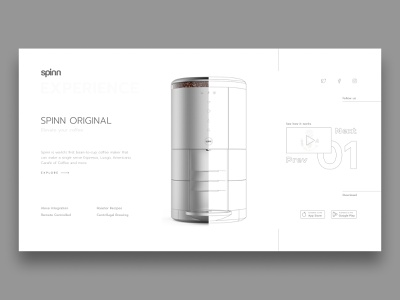 Spinn Concept coffee minimalist concept web design web ui design