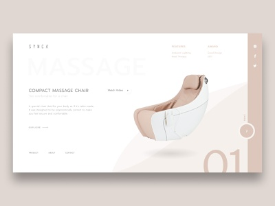SYNCA Concept massage synca massage chair minimalist concept web design web ui design