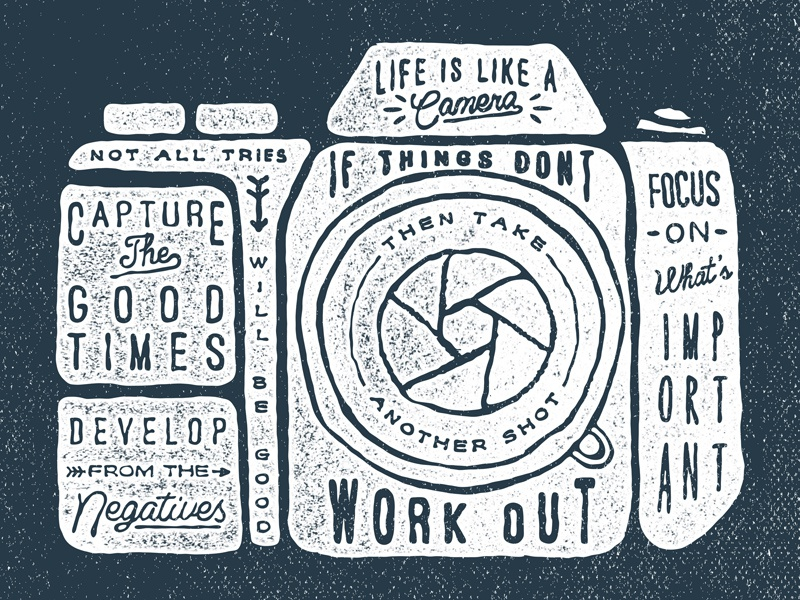 Life is like a camera typography