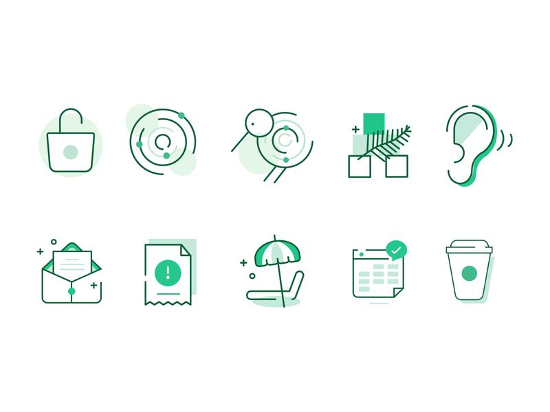 Micro illustrations iconography set fintech green icon set icon illustration