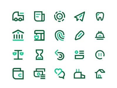 Icons two tone flat website iconography ux vector ui illustration icon set icon green fintech
