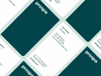 Prospa Business Card die-cut mockup stationery print fintech brand identity branding business card