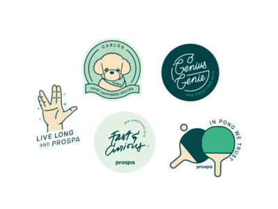 Stickers design icon set iconography prospa star trek dog laptop ping pong fintech sticker swag conference web directions illustration stickermule stickers