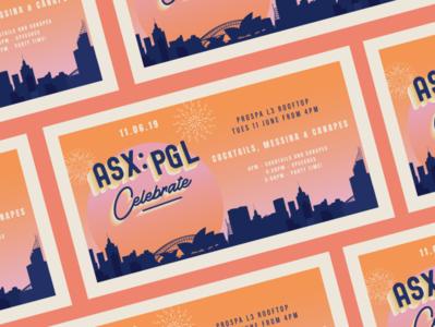 IPO Launch: Celebration design orange print layout sunset gradient postcard asx sydney cityscape invite launch ipo fireworks prospa illustration fintech