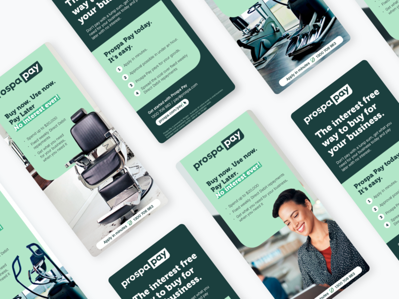 ProspaPay DL 2019 portrait indesign no interest pay later later pay buy now buy brand product prospapay prospa branding fintech graphic brochure dl layout print