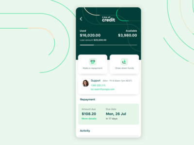 Line of Credit - Mobile Dashboard