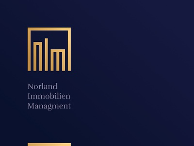 Nordland Immobilien Managment serif logotype luxury gold architecture building realestate managment property nordland