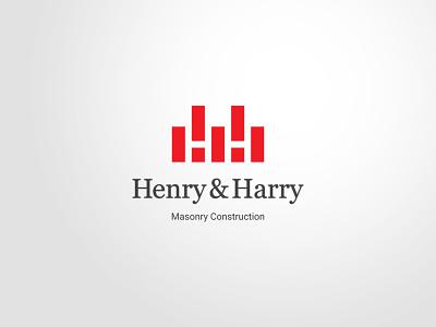 Henry & Harry masonry brick negativespace smart logomark mark logo h letterh initial monogram construction