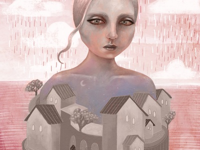Silent City pandemic social distancing physical distancing silent city home stayhome quarantine procreate digital painting digitalart illustrator illustration art art whimsical illustration