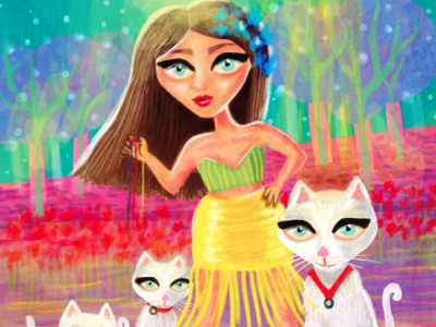 Cat Lady cute illustration cute animals cute cat lady cats cat bright colors colourful illustrator illustration art digital painting digitalart whimsical illustration