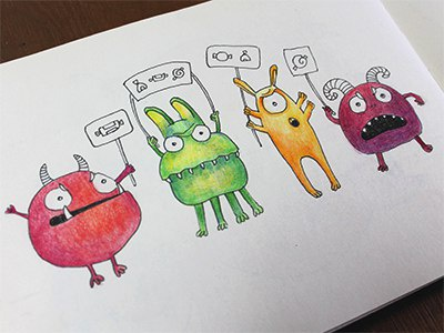 Candies! colors graphics colorpencils sketchbook drawing sketchart sketch mariashishcova candies strange monster illustration