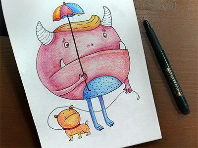 Sadness colors graphics colorpencils sketchbook drawing sketchart sketch mariashishcova umbrella dog monster illustration