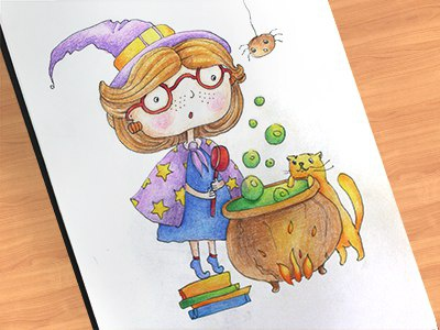 Witch colors graphics colorpencils sketchbook drawing sketchart sketch mariashishcova cooking cat witch illustration