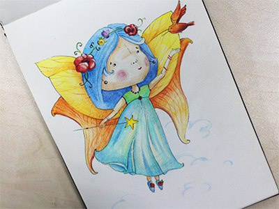 Fairy colors graphics colorpencils sketchbook drawing sketchart sketch mariashishcova fairy illustration