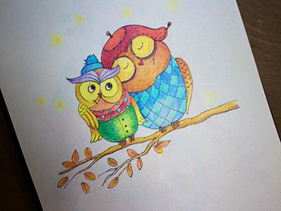 Love is in the air colors graphics colorpencils sketchbook drawing sketchart sketch mariashishcova love cute loveisintheair owl illustration