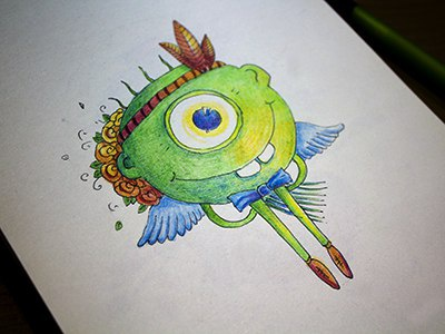Cyclops colors graphics colorpencils sketchbook drawing sketchart sketch mariashishcova green monster cyclops illustration