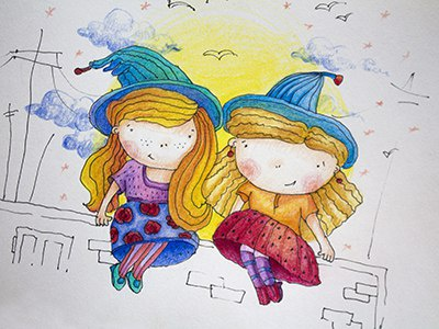 Сute witches girls friends graphics colorpencils sketchbook drawing sketchart sketch mariashishcova cute witch illustration