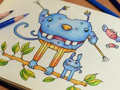 Sport colors graphics colorpencils sketchbook drawing sketchart sketch mariashishcova monster illustration