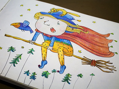 Mashechka colors graphics colorpencils sketchbook drawing sketchart sketch mariashishcova cat crow witch illustration