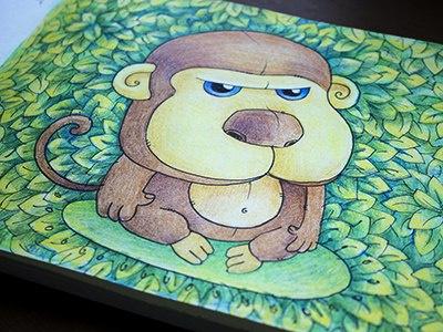 Baboon colors graphics colorpencils sketchbook drawing sketchart sketch mariashishcova leaves baboon illustration