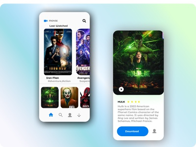 Movie App Concept hulk avengers androidappdesign designstudio dribbble uxdesign uidesign androidapp iosapp movie app movieapp colors clean branding app design ux ui