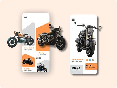 Bike App Concept android app iosapp ios android minimal dribbble appconcept colors design clean app ux ui uxdesign uidesign uiux bmw harley davidson bike bikeapp