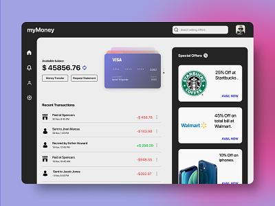 My Money Web Concept ux design wallet money visa minimal clean androidapp iosapp webapp web apple android ios app ux uxdesign ui design productdesign uiux ui