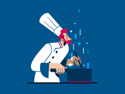 La cuisine du chef ! ✨🍴🇫🇷 smell cook cooking food flat character vector illustration