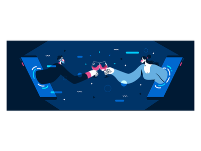 Apero'live #1 couple containment stayhome cheers drinks quarantine flat vector illustration